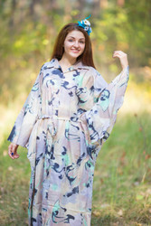 """Oriental Delight"" kaftan in Flamingo Watercolor pattern"