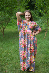 """Unfurl"" kaftan in Rosy Red Posy pattern"