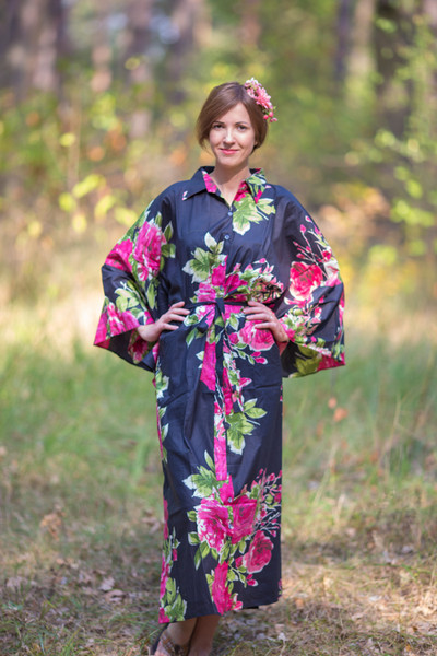 """Oriental Delight"" kaftan in Large Fuchsia Floral Blossom pattern"