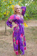 """Shape Me Pretty"" kaftan in Large Fuchsia Floral Blossom pattern"