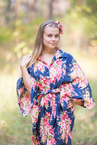 """Oriental Delight"" kaftan in Rosy Red Posy pattern"
