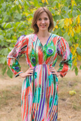 """Shape Me Pretty"" kaftan in Peacock Plumage pattern"