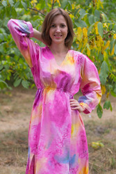 """Shape Me Pretty"" kaftan in Watercolor Splash pattern"