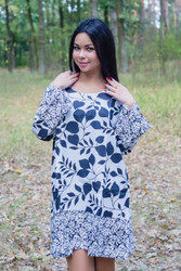 """Bella Tunic"" kaftan dress in Classic White Black pattern"