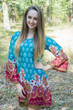 """Bella Tunic"" kaftan dress in Floral Bordered pattern"