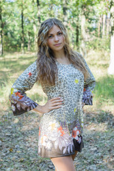 """Bella Tunic"" kaftan dress in Fun Leopard pattern"
