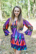 """Bella Tunic"" kaftan dress in Glowing Flame pattern"