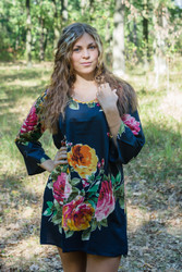 """Bella Tunic"" kaftan dress in Large Floral Blossom pattern"