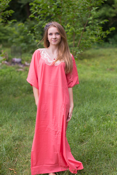 """Luscious Lace"" kaftan in Coral"