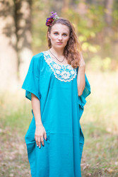 """Luscious Lace"" kaftan in Teal"