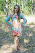 """Bella Tunic"" kaftan dress in Rosy Red Posy pattern"