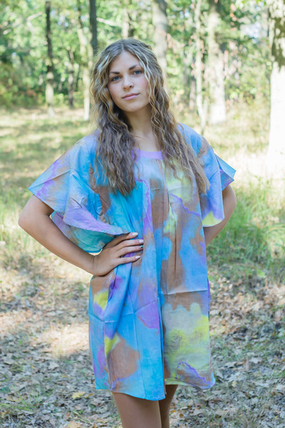 """Summer Celebration"" Tunic Dress kaftan in Batik Watercolor pattern"