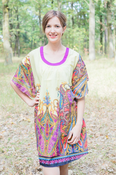 """Summer Celebration"" Tunic Dress kaftan in Cheerful Paisleys pattern"