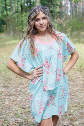 """Summer Celebration"" Tunic Dress kaftan in Faded Flowers pattern"