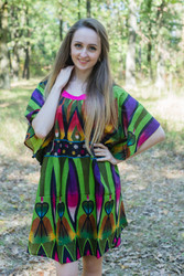 """Summer Celebration"" Tunic Dress kaftan in Glowing Flame pattern"