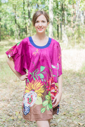 """Summer Celebration"" Tunic Dress kaftan in Jungle of Flowers pattern"