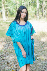 """Summer Celebration"" Tunic Dress kaftan in Multicolored Stripes pattern"