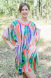 """Summer Celebration"" Tunic Dress kaftan in Peacock Plumage pattern"