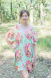 """Summer Celebration"" Tunic Dress kaftan in Rosy Red Posy pattern"