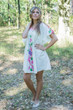 """Summer Celebration"" Tunic Dress kaftan in Swirly Floral Vine pattern"