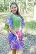 """Summer Celebration"" Tunic Dress kaftan in Vibrant Foliage pattern"