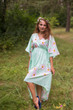 """High Low Wind Flow"" kaftan in Falling Daisies pattern"