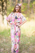 """The Drop-Waist"" kaftan in Flamingo Watercolor pattern"