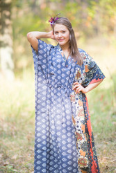 """The Drop-Waist"" kaftan in Floral Bordered pattern"