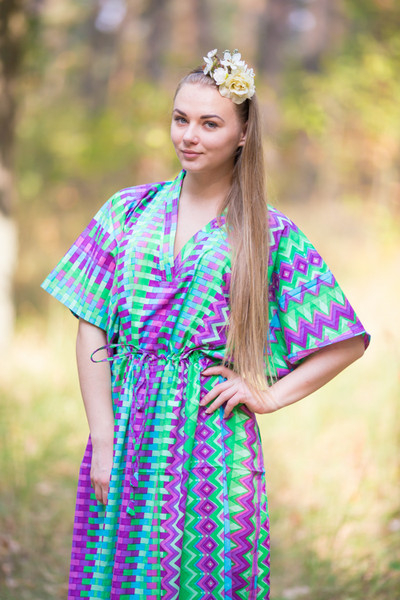 """The Drop-Waist"" kaftan in Geometrica pattern"