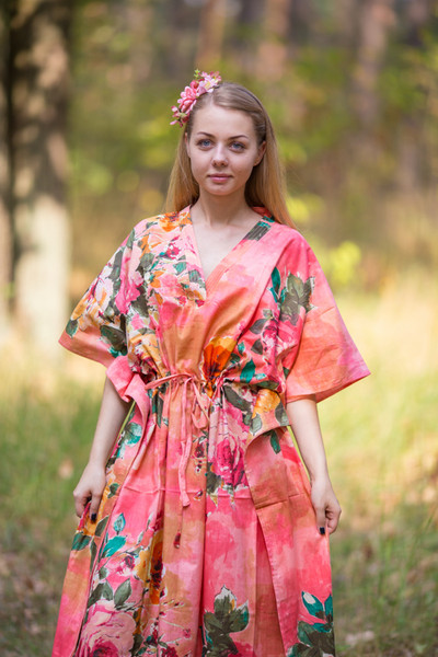 """The Drop-Waist"" kaftan in Large Floral Blossom pattern"