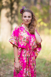 """The Drop-Waist"" kaftan in Rosy Red Posy pattern"