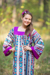 """Fire Maiden"" kaftan in Aztec Geometric pattern"