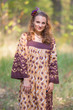"""Fire Maiden"" kaftan in Chevron Dots pattern"