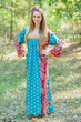 """Fire Maiden"" kaftan in Floral Bordered pattern"