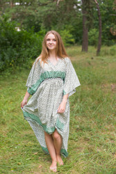 """High Low Wind Flow"" kaftan in Geometric Chevron pattern"