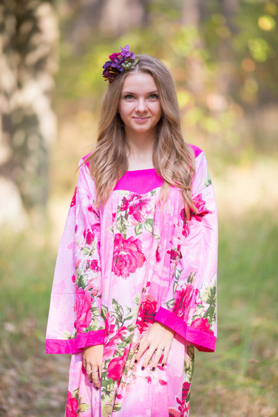 """""""Fire Maiden"""" kaftan in Large Fuchsia Floral Blossom pattern"""
