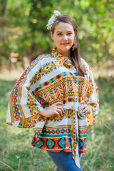 """Oriental Delight"" kaftan Top in Aztec Geometric pattern"
