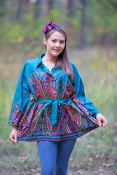 """Oriental Delight"" kaftan Top in Cheerful Paisleys pattern"