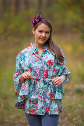 """Oriental Delight"" kaftan Top in Cute Bows pattern"