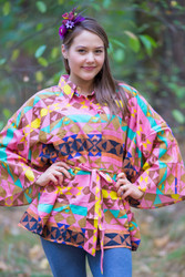 """Oriental Delight"" kaftan Top in Diamond Aztec pattern"