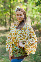"""Oriental Delight"" kaftan Top in Falling Leaves pattern"