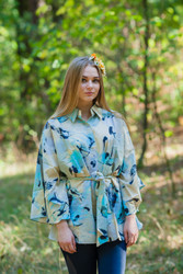 """Oriental Delight"" kaftan Top in Flamingo Watercolor pattern"