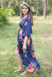 """High Low Wind Flow"" kaftan in Large Floral Blossom pattern"
