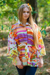 """Oriental Delight"" kaftan Top in Floral Watercolor Painting pattern"