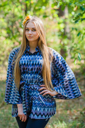 """Oriental Delight"" kaftan Top in Geometrica pattern"