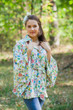 """Oriental Delight"" kaftan Top in Happy Flowers pattern"