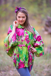"""Oriental Delight"" kaftan Top in Large Fuchsia Floral Blossom pattern"