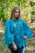 """Oriental Delight"" kaftan Top in Multicolored Stripes pattern"