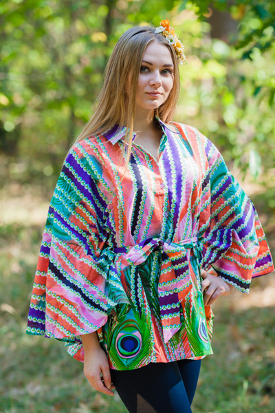 """Oriental Delight"" kaftan Top in Peacock Plumage pattern"