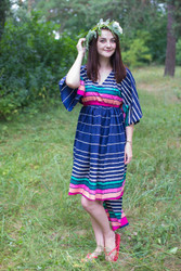 """High Low Wind Flow"" kaftan in Multicolored Stripes pattern"